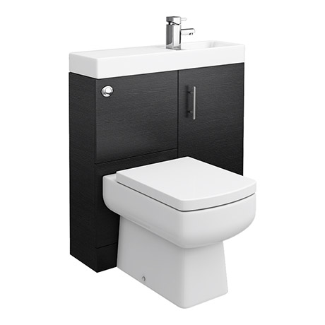 finest selection f583e b564c Valencia 800mm SQ Plus Black Ash Combination Basin + WC Unit