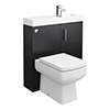 Valencia 800mm SQ Plus Black Ash Combination Basin + WC Unit profile small image view 1