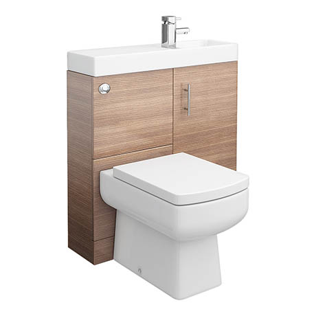 Valencia 800mm SQ Plus Oak Combination Basin + WC Unit