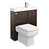 Valencia 800mm SQ Plus Walnut Combination Basin + WC Unit profile small image view 1