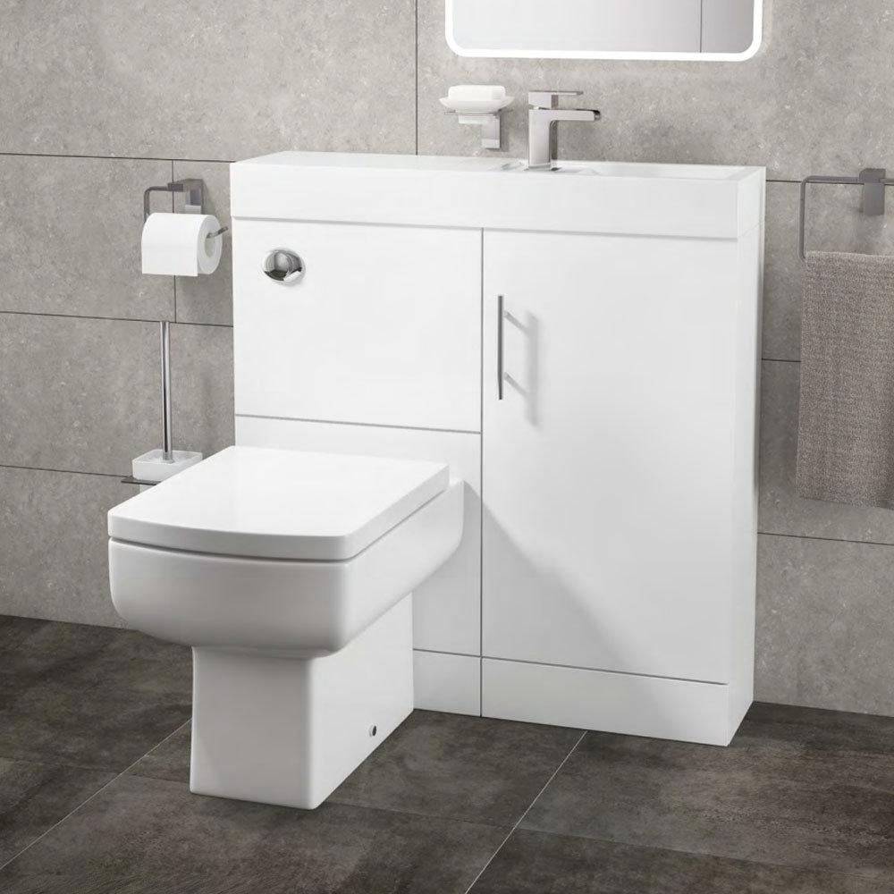 Valencia 800mm SQ Plus Gloss White Combination Basin + WC