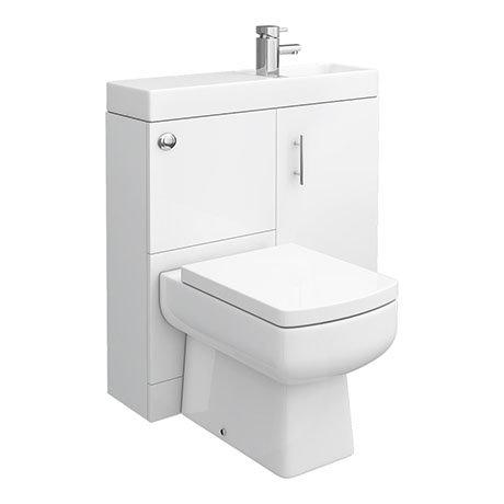 Valencia 800mm SQ Plus Gloss White Combination Basin + WC Unit