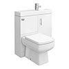 Valencia 800mm SQ Plus Gloss White Combination Basin + WC Unit profile small image view 1