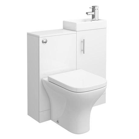 Valencia 810mm Mini SQ Gloss White Basin + WC Unit