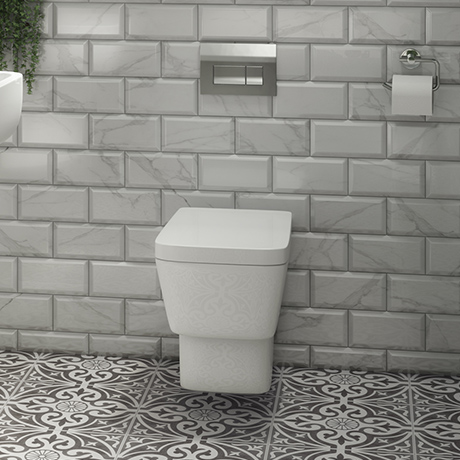 Valencia Wall Hung Toilet with Soft Close Seat (inc. Chrome Flush + Concealed Cistern Frame)