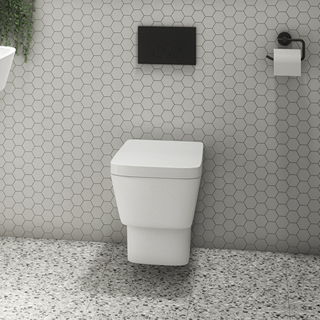 Valencia Wall Hung Toilet with Soft Close Seat (inc. Matt Black Flush + Concealed Cistern Frame)
