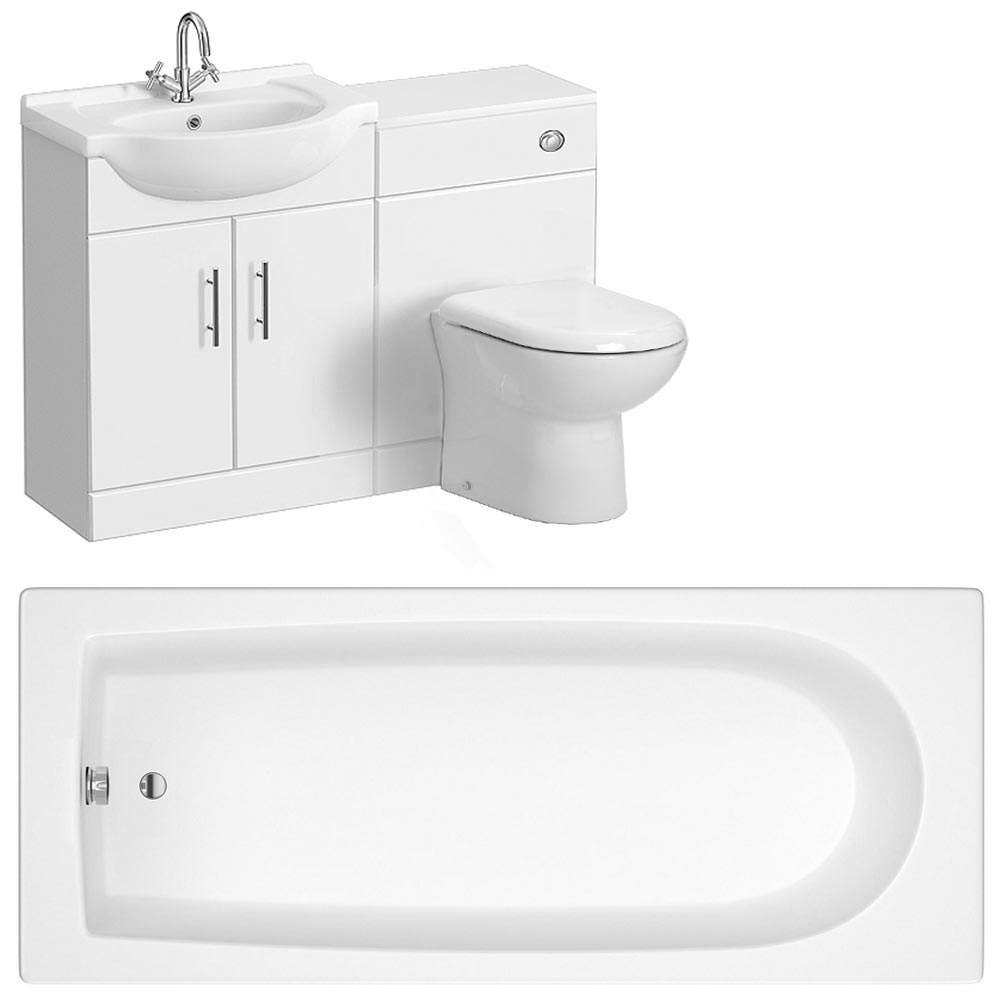 Alaska Gloss White Vanity Unit Suite with 1700 Single Ended Acrylic Bath Large Image