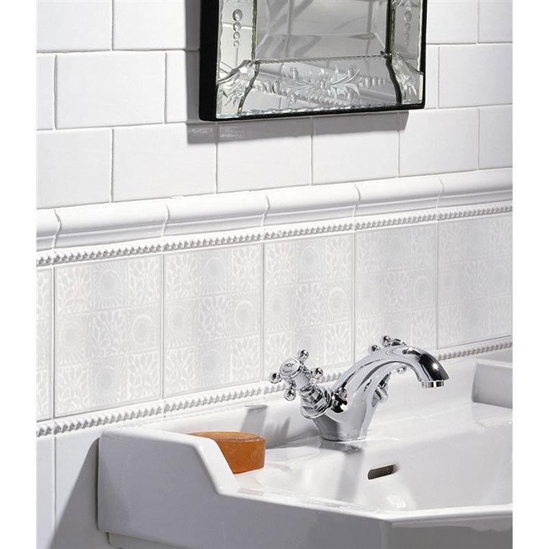White 9 Square Decor Wall Tile - 152x152mm profile large image view 2