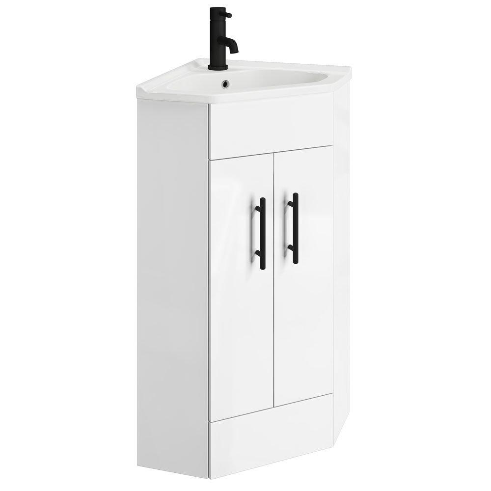 Venice Corner Vanity Unit - Gloss White - 590mm with Black Handles