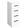 Venice 300x300mm Gloss White 4 Drawer Unit with Matt Black Handles profile small image view 1