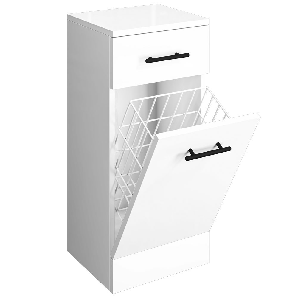 Venice 350x300mm Gloss White Laundry Basket with Matt Black Handles