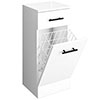 Venice 350x300mm Gloss White Laundry Basket with Matt Black Handles profile small image view 1