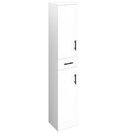 Venice 350x300mm Gloss White Tallboy Unit with Matt Black Handles
