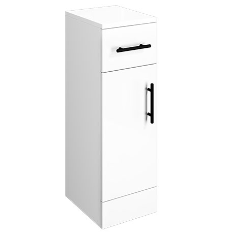 Venice 250x300mm Gloss White Cupboard Unit with Matt Black Handles