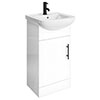 Venice 460 Gloss White Vanity with Matt Black Handle (Unit Depth 300mm) profile small image view 1