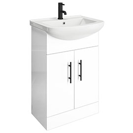 Venice 560 Gloss White Vanity with Matt Black Handles (Unit Depth 300mm)