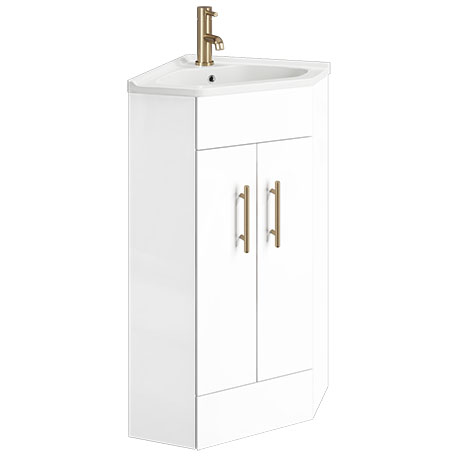 Venice Corner Gloss White Cabinet Vanity Unit With Brushed Brass Handles Victorian Plumbing Uk