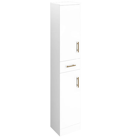 Venice 350x300mm Gloss White Tallboy Unit with Brushed Brass Handles