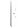 Venice 350x300mm Gloss White Tallboy Unit with Brushed Brass Handles profile small image view 1