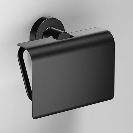 Venice Black Toilet Roll Holder with Cover