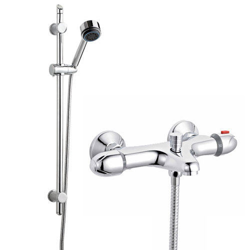 Ultra Wall Mounted Thermostatic Bath Shower Mixer Valve w/ Modern Slide Rail Kit Large Image