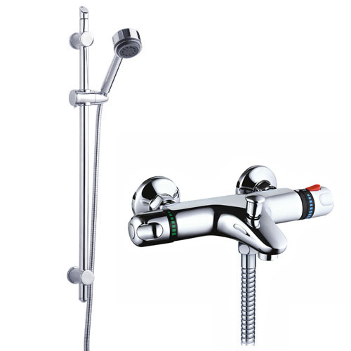 Nuie Wall Mounted Thermostatic Bath Shower Mixer Valve w/ Modern Slide Rail Kit