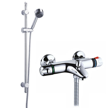 Ultra Wall Mounted Thermostatic Bath Shower Mixer Valve w/ Modern Slide Rail Kit