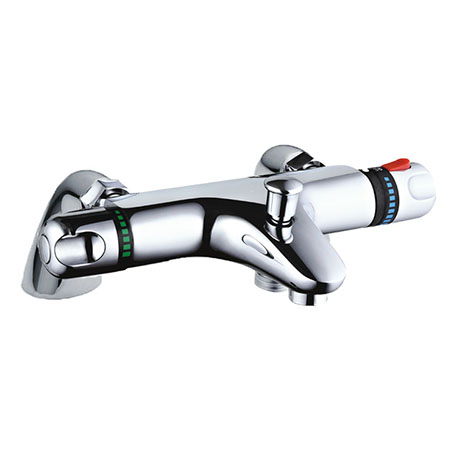 Nuie Deck Mounted Thermostatic Bath/Shower Mixer Valve - Bottom Outlet - Chrome