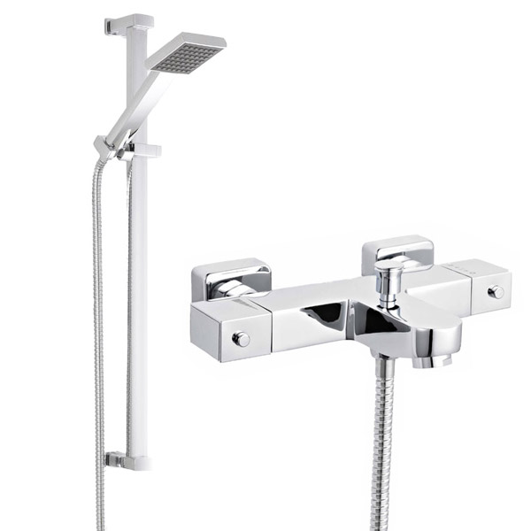 Ultra Wall Mounted Square Thermostatic Bath/Shower Mixer Valve w/ Rectangular Slide Rail Kit Large Image