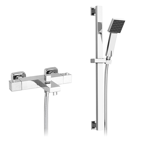 Nuie Wall Mounted Square Thermostatic Bath/Shower Mixer Valve w. Rectangular Slide Rail Kit