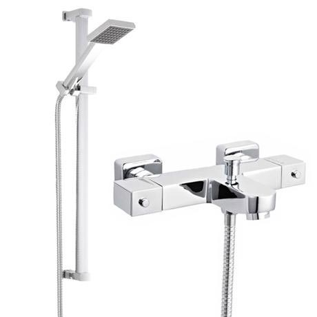 Ultra Wall Mounted Square Thermostatic Bath/Shower Mixer Valve w/ Rectangular Slide Rail Kit
