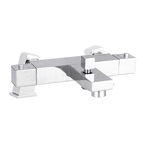 Nuie Square Thermostatic Bath/Shower Mixer Valve with Square Mounting Legs - Bottom Outlet