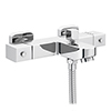 Nuie Wall Mounted Square Thermostatic Bath/Shower Mixer Valve - Bottom Outlet - Chrome - VBS005 profile small image view 1