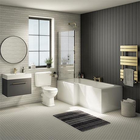 Valencia Bathroom Suite (Toilet, Grey Vanity with Brass Handle, L-Shaped Bath + Screen)