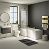 Valencia Bathroom Suite (Toilet, Grey Vanity with Brass Handle, L-Shaped Bath + Screen) profile small image view 1