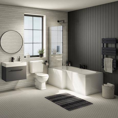 Valencia Bathroom Suite (Toilet, Grey Vanity with Black Handle, L-Shaped Bath + Screen)