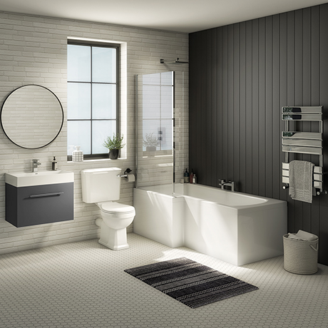 Valencia Bathroom Suite (Toilet, Grey Vanity with Chrome Handle, L-Shaped Bath + Screen)