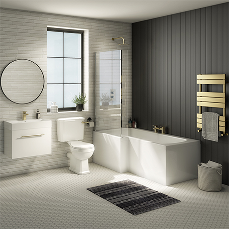 Valencia Bathroom Suite (Toilet, White Vanity with Brass Handle, L-Shaped Bath + Screen)