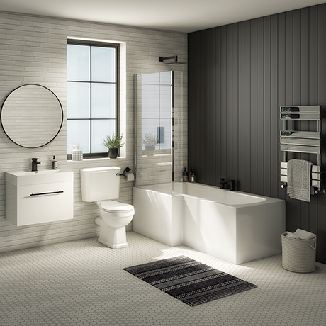 Valencia Bathroom Suite (Toilet, White Vanity with Black Handle, L-Shaped Bath + Screen)