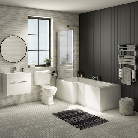 Valencia Bathroom Suite (Toilet, White Vanity with Chrome Handle, L-Shaped Bath + Screen)