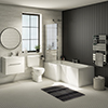 Valencia Bathroom Suite (Toilet, White Vanity with Chrome Handle, L-Shaped Bath + Screen) profile small image view 1