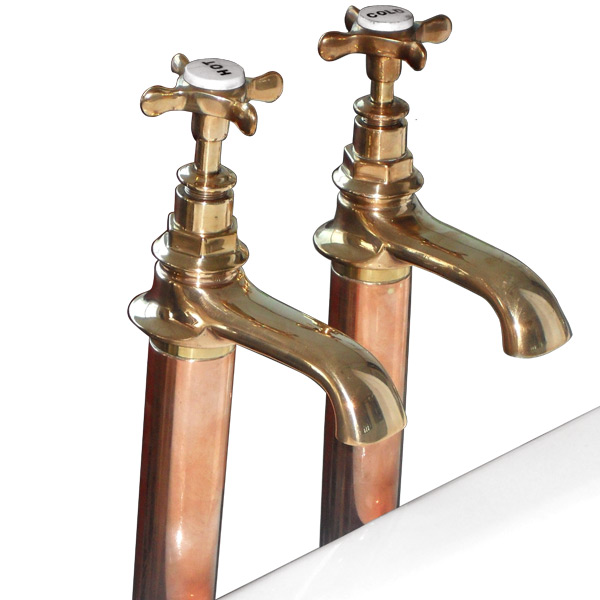 Original Bronze Bath Taps On Copper Standpipes With