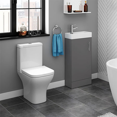 Venice Small Gloss Grey Cloakroom Suite