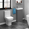 Venice Small Gloss Grey Cloakroom Suite profile small image view 1
