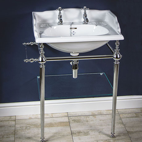 Silverdale Victorian 635mm Wide Basin with Chrome Stand