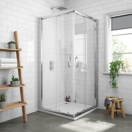 Newark Corner Entry Shower Enclosure + Pearlstone Tray