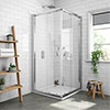 Newark Corner Entry Shower Enclosure + Pearlstone Tray profile small image view 1
