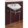 Silverdale Victorian Basin with Chrome Stand/Heated Towel Rail (530mm Wide - 2 Tap Hole) profile small image view 1