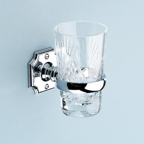 Silverdale Luxury Victorian Tumbler Holder & Crystal Glass Tumbler - Chrome