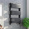 Venice Anthracite 800 x 500 Designer D-Shaped Heated Towel Rail profile small image view 1